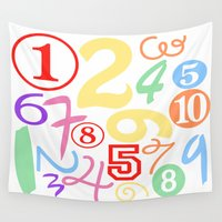 numbers Wall Tapestries featuring Colorful Numbers by Sweet Colors Gallery