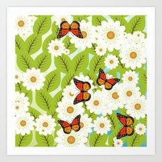 Daisies and butterflies Art Print