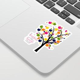 Teachers plant the seeds of knowledge Rainbow apple Tree Sticker