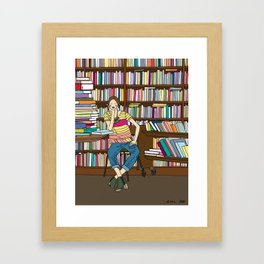 Sitting in a Bookshop Framed Art Print