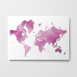 Purple world map Metal Print