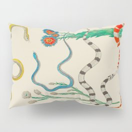 Locupletissimi rerum naturalium - vol. 2 - Albertus Seba Colorful Snake Floral Arrangement Pillow Sham