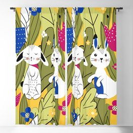Cute bunnies in the meadow Blackout Curtain