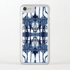 Indigo Paper Shibori Clear iPhone Case