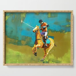 poloplayer abstract turquoise ochre Serving Tray