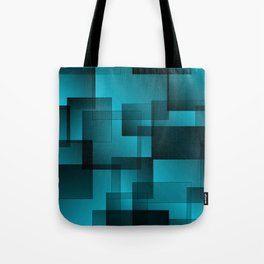 Pattern of blue squares with shadow and volume. Tote Bag