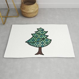 Mermaid Scales Christmas Tree Design With Glitter Accents Background Rug