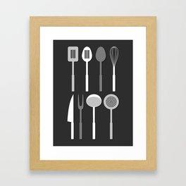 Kitchen Utensil Silhouettes Monochrome Framed Art Print