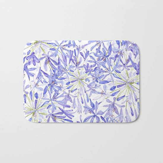 blue purple African lily watercolor painting Bath Mat