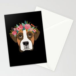 Boxer dog breed with floral crown cute dog gifts pure breed Boxers Stationery Cards