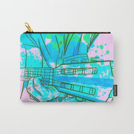 Guitar Player Cool Music Art In Blue And Green Carry-All Pouch