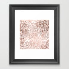 Chic hand drawn rose gold floral mandala pattern Framed Art Print