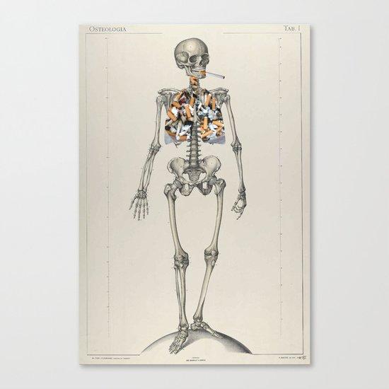 Skeletons Smoking Canvas Print