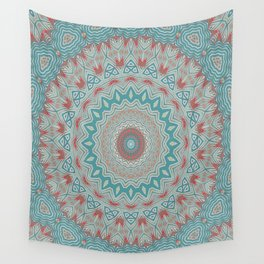 Tribal Medallion Teal Wall Tapestry