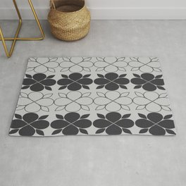 Black and Grey Flower Tile Rug