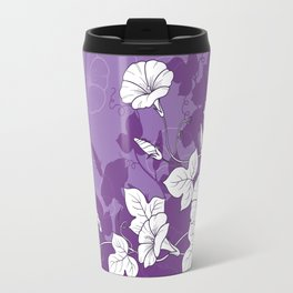 White Morning Glory Flowers with Purple Accents Travel Mug