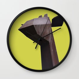 Giraffe Yellow | digital art photography | brown animal yellow background color Wall Clock