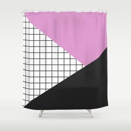 Geometry: black, pink and squres Shower Curtain