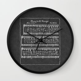 Away in a Manger Christmas Music Chalkboard Wall Clock