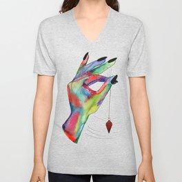 colorful hand holding pendulum Unisex V-Neck