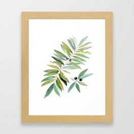 Leaves Berries Sage Green Turquiose Nature Art Floral Watercolor Framed Art Print