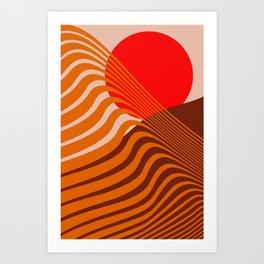 Beyond The Fog - Red & Brown Art Print