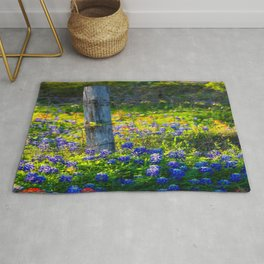 Country Living - Fence Post and Vines Among Bluebonnets and Indian Paintbrush Wildflowers Rug
