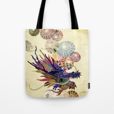 Dragon with unbrellas Tote Bag