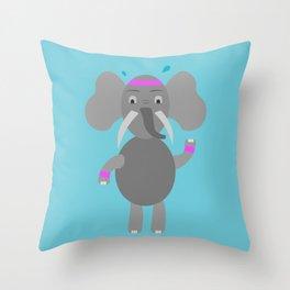 Fitness Elephant Throw Pillow