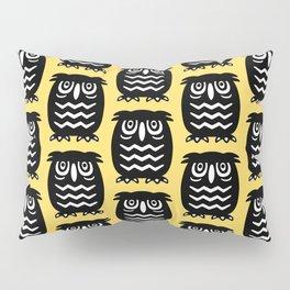 Mid Century Owl Pattern Yellow 22 Pillow Sham