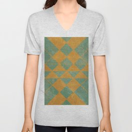 Emerald and Gold Marble Design Unisex V-Neck