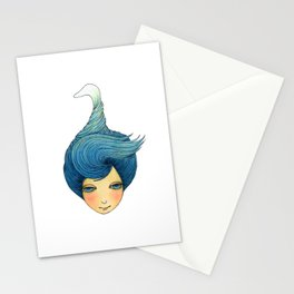 the girl with swan hair Stationery Cards
