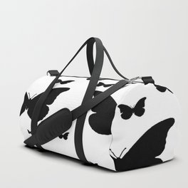 GOTHIC EBONY BLACK BUTTERFLIES & WHITE-BLACK ART Duffle Bag