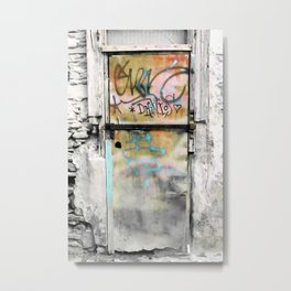 One Door at Plaka-Athens Metal Print