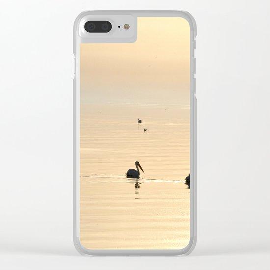 WHITE PELICANS - SUNSET - SALTON SEA Clear iPhone Case