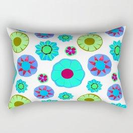 Flower Pattern-Teal Rectangular Pillow