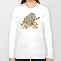 cycle Long Sleeve T-shirts featuring Elephant Cycle by Terry Fan