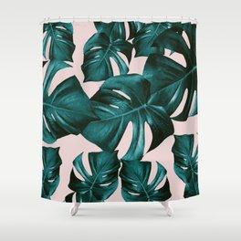 Monstera Leaves Pattern #4 #tropical #decor #art #society6 Shower Curtain