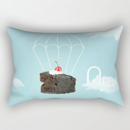 Isolated Chocolate cherry cake with parachute on blue sky background Rectangular Pillow