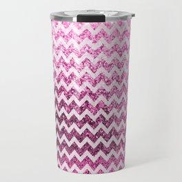 Glitter Sparkly Bling Chevron Pattern (pink) Travel Mug