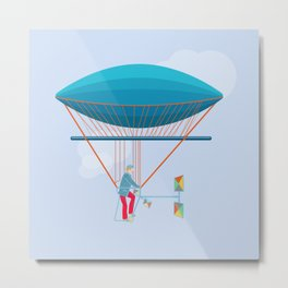 Skycycle Flying Machine Air Balloon Victorian Aircraft Metal Print