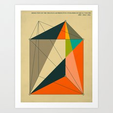 DISSECTION OF THE TRIANGULAR PRISM INTO 3 PYRAMIDS OF EQUAL VOLUME Art Print