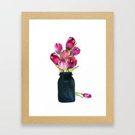 Red Tulips in Mason Jar Framed Art Print