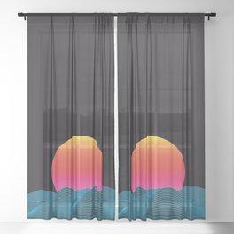 Computer sundown Sheer Curtain