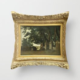 Jean-Baptiste-Camille Corot - Breton landscape A gate shaded by tall trees Throw Pillow