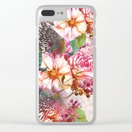 Animal flowers abstract Clear iPhone Case