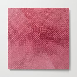 Modern trendy geometric mauve red glitter Metal Print