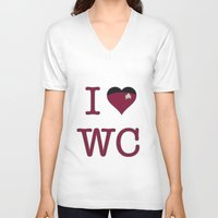 wesley bird V-neck T-shirts featuring I Heart Wesley Crusher by Illustrated by Jenny