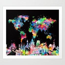world map city skyline 3 Art Print