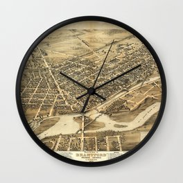 Bird's Eye View of Brantford, Ontario, Canada (1875) Wall Clock